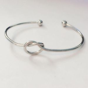 Silver Tie The Knot bangle bridesmaid bracelet NEW